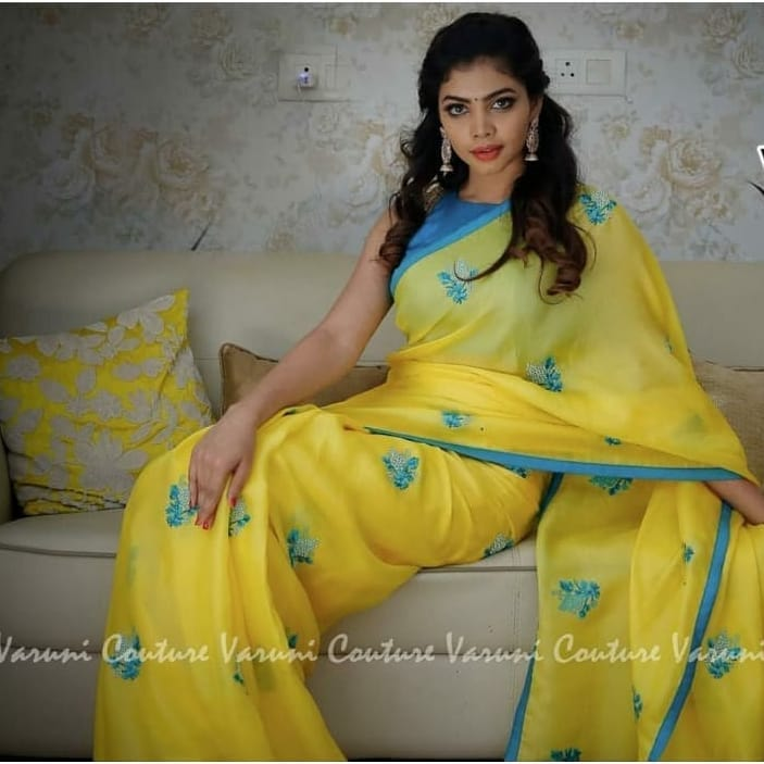 4bfdedf1f8 HEAVY Georgette Hand Stone Work Saree with BANGLORI SILK blouse ...
