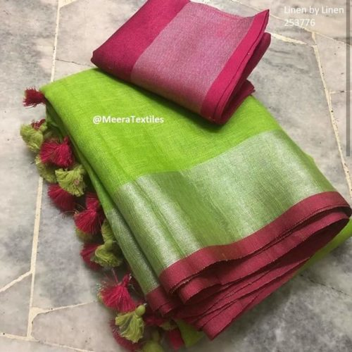 Pure linen Saree