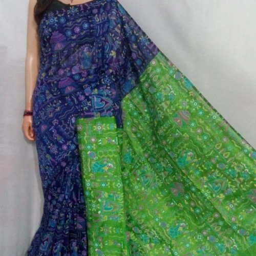 Madhuboni print Cotton Saree