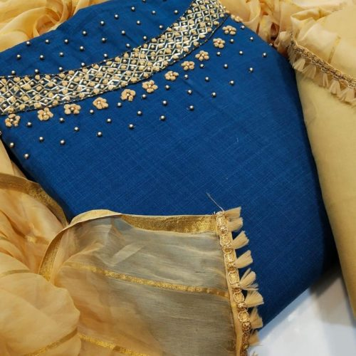 Designer dress material with Aari & Jari work