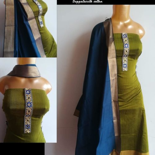 RAW SILK CHUDITHAR WITH NET DESIGN